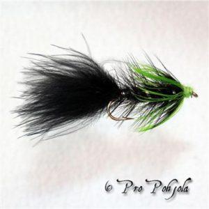 Leech musta V (vihreä kaulus)